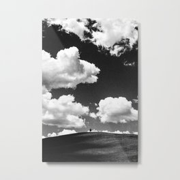 A lone tree under a heavy white cloud in black and white Metal Print