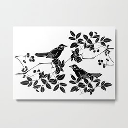 Birds on Branches, Drawing (Black on White) Metal Print