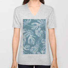 Tropical Escape Teal Blue Leaves + Hibiscus Unisex V-Neck