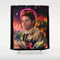 castiel Shower Curtains featuring Castiel by ururuty