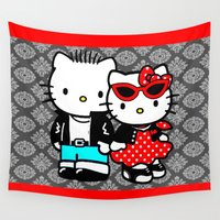 rockabilly Wall Tapestries featuring Rockabilly Kitty by BURPdesigns