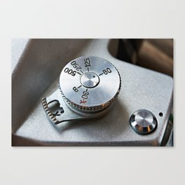 Control dial shutter speed on retro SLR camera Canvas Print