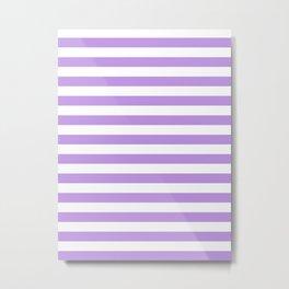 Narrow Horizontal Stripes - White and Light Violet Metal Print