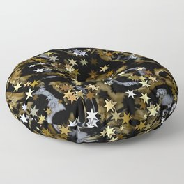 Stars in Black and Gold with Silver Floor Pillow