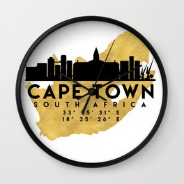 CAPE TOWN SOUTH AFRICA SILHOUETTE SKYLINE MAP ART Wall Clock