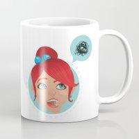 redhead Mugs featuring redhead bla by adi katz