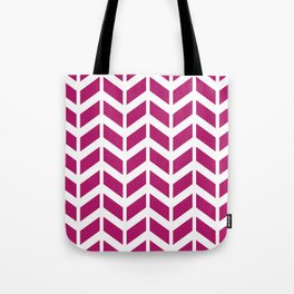 Berry pink and white chevron pattern Tote Bag