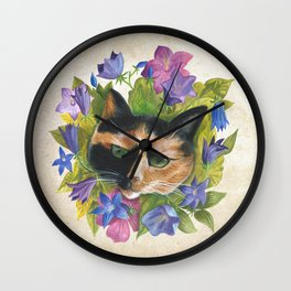 Calico Flower Cat Wall Clock