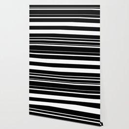 Black & White Random Stripes Geometric Design Wallpaper