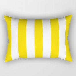 Sprint Yellow - solid color - white vertical lines pattern Rectangular Pillow