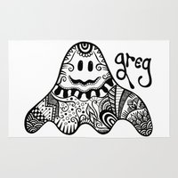 greg guillemin Area & Throw Rugs featuring Greg the Ghost by Wealie