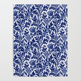 William Morris Thistle Damask, Cobalt Blue & White Poster