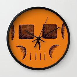Skull Linework (Black / Orange) Wall Clock