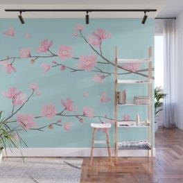 Cherry Blossom - Duck Egg Blue Wall Mural
