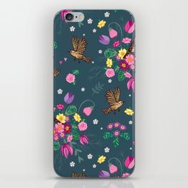 Garden Birds and Spring Flowers on Blue iPhone Skin