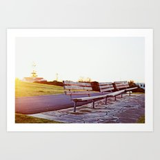 lonely benches Art Print