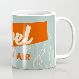 "1950s style ""by air"" travel poster print. Coffee Mug"