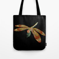 dragonfly Tote Bags featuring Dragonfly by Tim Jeffs Art