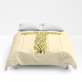 Leafy Letter T Comforters