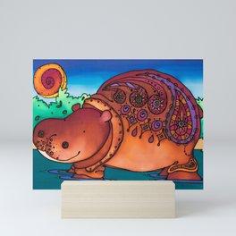 A Huggable Hippo: Ruby Mini Art Print