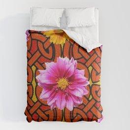 Caramel Brown Celtic Design Yellow Art Purple Dahlias Comforters