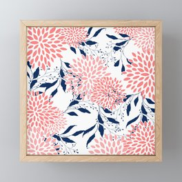 Festive, Floral Prints and Leaves, Navy Blue, Pink and White Framed Mini Art Print
