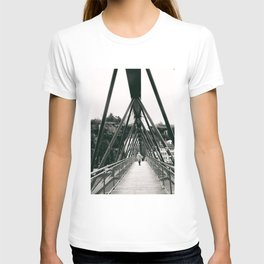 Pedestrian Bridge in Lyon - Fine Art Black and White Photography T-shirt