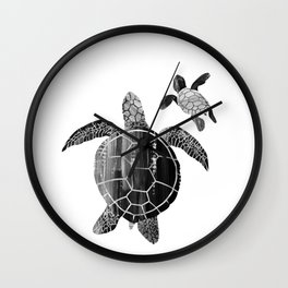 Shielded Love (black and white) Wall Clock