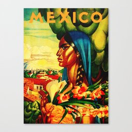 Vintage Mexico Travel - Woman with Flowers Canvas Print
