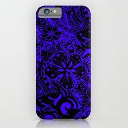 Hawaiian Midnight Blue Tribal Leaves iPhone Case