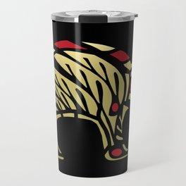 Tribal Black and Gold Bear Symbol Travel Mug