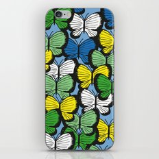 Green yellow blue butterflies iPhone & iPod Skin