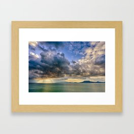 Heavenly lights through storm clouds over Lake Balaton Framed Art Print