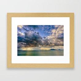 Heavenly lights through storm clouds over Lake Balaton Framed Art Print