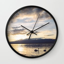 Sunset Lake Geneva Swans Wall Clock