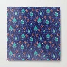 Dark Blue Ikat Doodle Pattern Metal Print