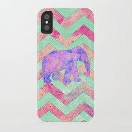 Whimsical Purple Elephant Mint Green Pink Chevron iPhone Case