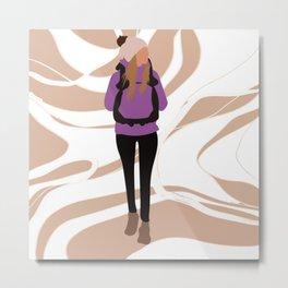 Woman on a hike Metal Print