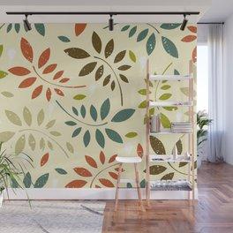 leaf illutration pattern Wall Mural