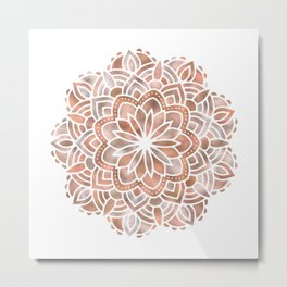 Mandala Rose Gold Flower Metal Print