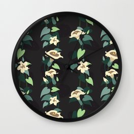 Moonflower vine pattern Wall Clock