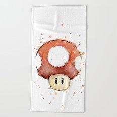 Red Mushroom Watercolor Mario Art Nintendo Geek Gaming Beach Towel