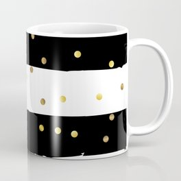 Black and white grunge striped background with Gold confetti Coffee Mug