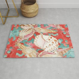 Aqua Turquoise Coral Red Seahells Art Pattern Rug