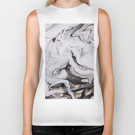 Elegant dark swirls of marble Biker Tank