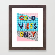 Check it - good vibes happy smiles fun modern memphis throwback art 1980's 80's 80s 1980s 1980 neon  Framed Art Print