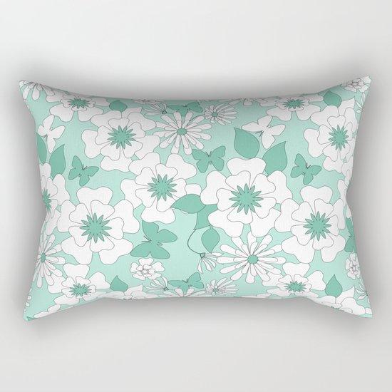 Turquoise floral pattern . Rectangular Pillow