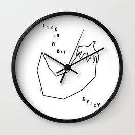 Spice Makes Us Stronger - black and white illustration Wall Clock