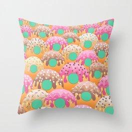 Donuts Wanderlust Teal Blue Green Throw Pillow