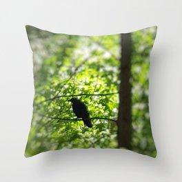 Black Bird Summer Green Tree Throw Pillow
